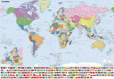 Giant & Large A0 A1 World Map Wall Chart Including Flags Laminated Option Map01