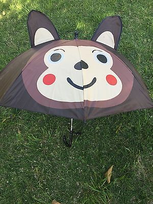 Kids Girls Boy Novelty Monkey 3D Pop-up Ear Dome Umbrella Rain Gift