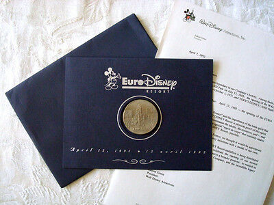 RARE 1992 EURO DISNEYLAND PARIS GRAND OPENING CAST APPRECIATION COIN & LETTER