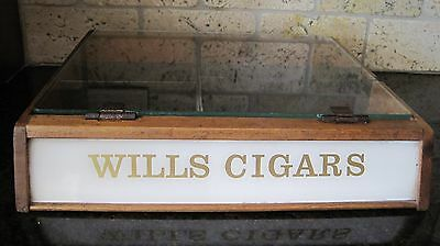 Vintage Antique Rare WILLS CIGAR Store Display Case Wood Glass Top Humidor