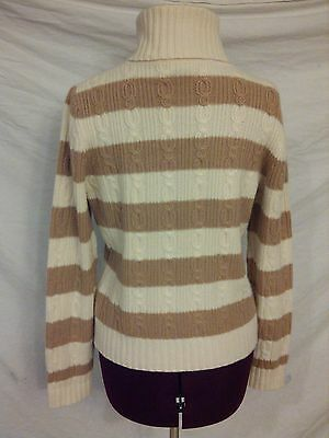 Daniel Bishop Ivory Tan TurtleNeck Sz M 100% Thick Soft Cashmere CableKnit
