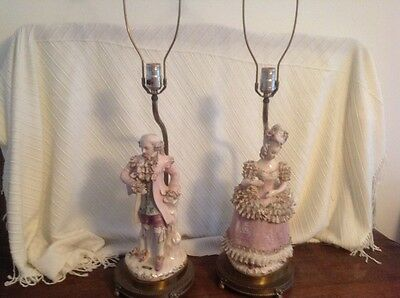 Beautiful Pair of  Large Antique Cordey Victorian Porcelain Lady and Man Lamps
