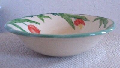 "Franciscan China Tulip 5-7/8"" Cereal Soup Fruit Bowl Red Yellow Tulip England"