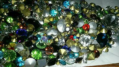 100 Crystal Rhinestones Assorted Loose Mixed Lot Great 4 Craft & Jewelry Repair