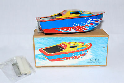 VINTAGE TIN TOY POP POP CANDLE SPEED BOAT MF 418 VEHICLE COLLECTABLE,CHINA