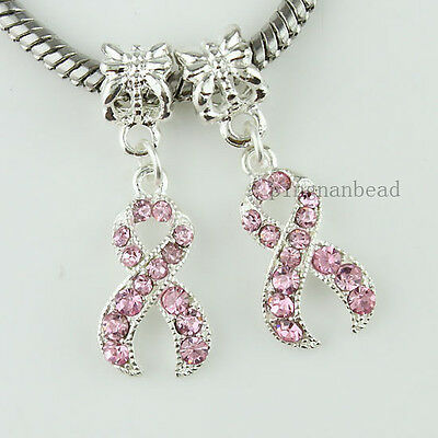 5pcs Pink Crystal Ribbon Silver Breast Cancer Awareness Charm Pendant Beads