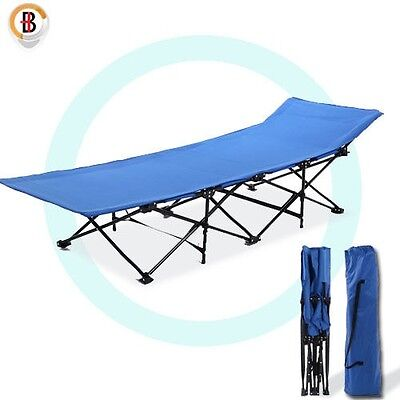 Camping Bed Folding Stretcher Light Weight with Carry Bag Camp Blue Portable