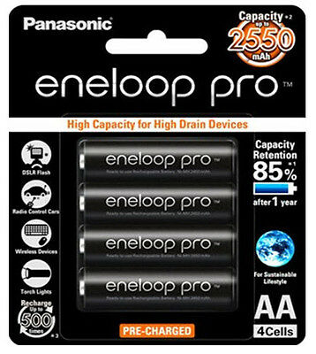 4x Panasonic eneloop pro rechargeable AA battery pack | Made In Japan