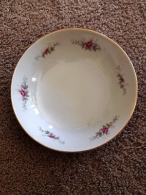Nasco Fine China, White With Highland Rose Pattern, Coupe Cereal Bowl 6 3/8 inch