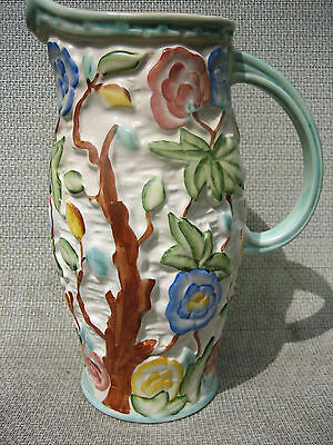 H J Wood ltd Indian tree hand painted England Jug Art Deco ? nice muted colours