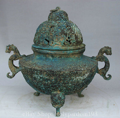"""15"""" Old Chinese Dynasty Palace Bronze 3 Foot Beast Handle Incense Burner Censer"""