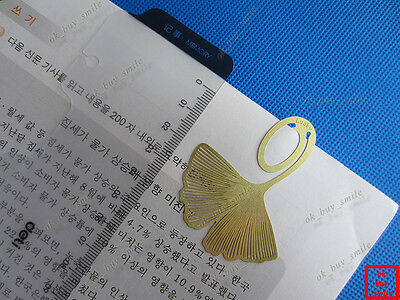 2 PCS Lot/Set !!! RARE Gold Metal Ginkgo Biloba Clip Bookmarks
