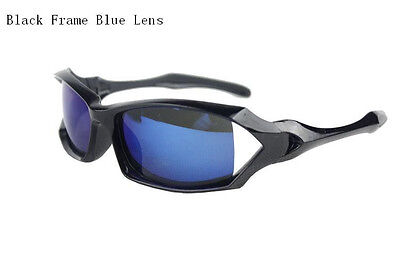 Black Frame Blue Mirrored Lens Spectacles Sunglasses Cycling Eyewear 100% UV off