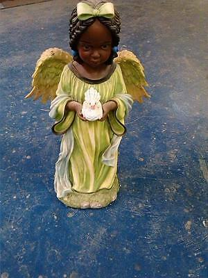 """23"""" x 15"""" Huge God's Lil Angel w/ dove African American Statue NEW !! FREE S&H!"""