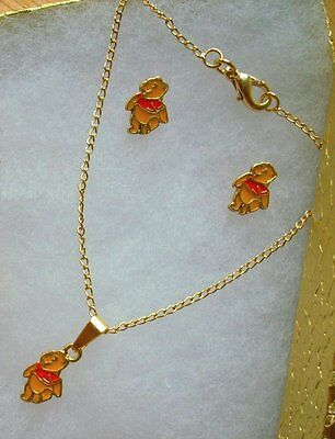 18K GOLD Filled Disney WINNIE THE POOH Girls NECKLACE & EARRINGS 3pc GIFT SET