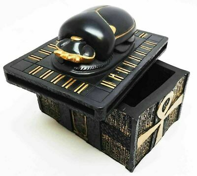Ancient Egypt Sacred Scarab Amulet on Ankh Jewelry Trinket Box Collectible Decor