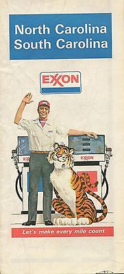 1978 EXXON Tiger Road Map NORTH & SOUTH CAROLINA Charleston Raleigh Charlotte