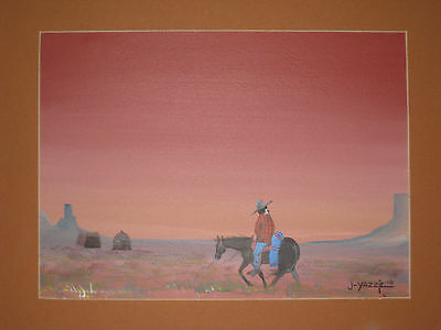 Amazing Painting Signed Johnny Yazzie (Navajo)  1978  Native American Hoga Scene