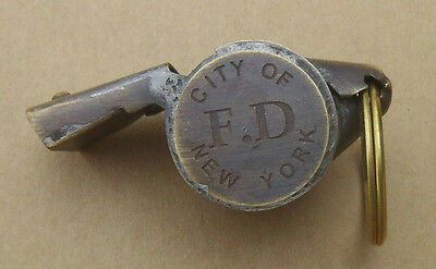 New York Fire Dept. Police Whistle Solid Brass Works Great NEW FREE SHIPPING