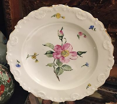 c1850 Rare Meissen Scalloped Hand Painted Plate Off White with Rose & Yellow
