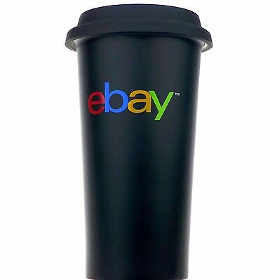 New eBay Logo Travel Mug Stainless Steel Insulated Black lid Hot or Cold 16 oz