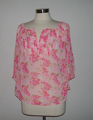 ABERCROMBIE Women's Abigail Easy Fit Pink Chiffon Top Size (M) Medium NWT $48
