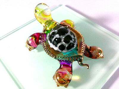 TURTLE HAND PAINT COLORFUL BLOWN GLASS ART GOLD TRIM FIGURINE DECOR/COLLECTION