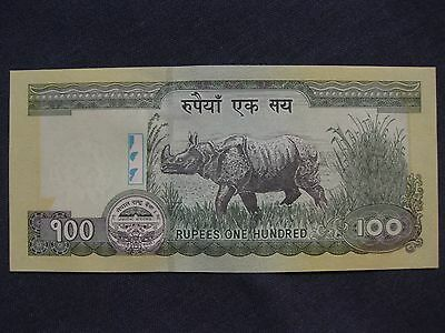 Nepal 100 Rupees Banknote  UNC  Rhino   paper money very nice note