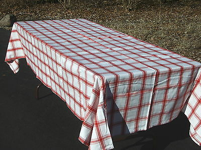 """Cotton Tablecloth Liz Claiborne Vintage 2002 Red and White Checkered 59"""" x 104"""""""