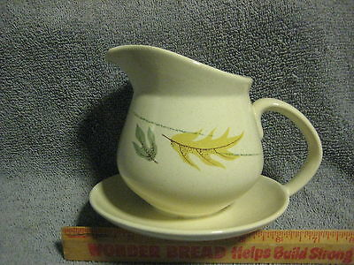 VINTAGE FRANCISCAN GLADDING McBEAN AUTUMN LEAVES GRAVY PITCHER WITH SPILL PLATE