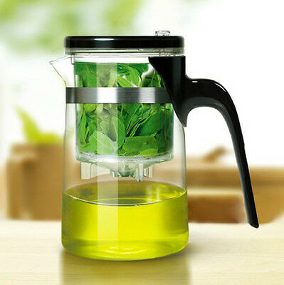 All In One Glass Tea Coffee Maker Mug Pot With Filter Infuser Straight 600ML