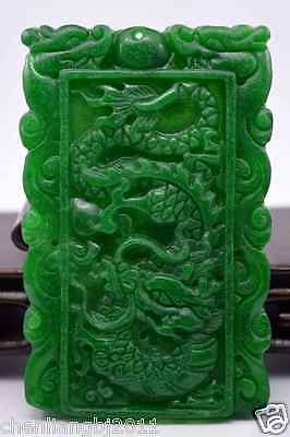 Fine Chinese old Crafted Hand carved natural jade statue pendant Dragon Phoenix
