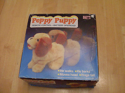 Peppy Puppy 1970's toy with remote & box