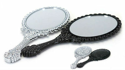 Antique style Oval Decorative Hand Mirror Compact Handheld Mirrors Black Silver