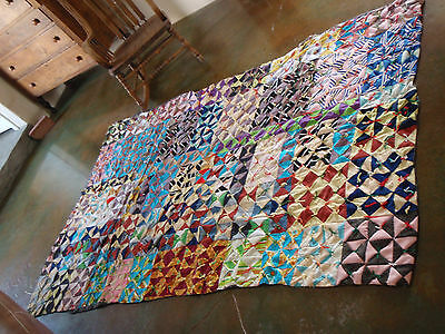 "Vintage Multi-Color Heavy Patchwork Quilt Twin Size 57"" x 89"" Crude-Crazy-Cute!"