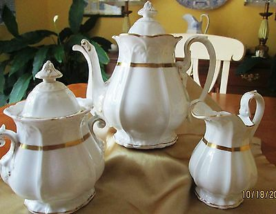 WHITE, GOLD-TRIMMED 1800s IRONSTONE TEA OR COFFEE SET BEAUTIFUL, LARGE