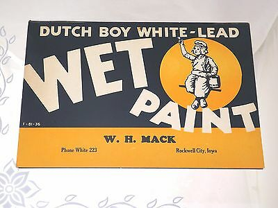 Vintage Dutch Boy White-Lead Wet Paint Paper Sign-Rockwell City, IA 10.5x7in-DB3