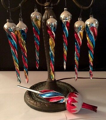 7 Vtg W. Germany Mercury Glass Spiral Icicle Xmas Ornaments 7.5 Inches  w/Topper