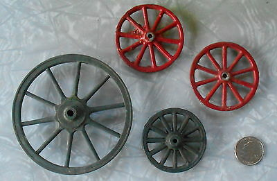 VINTAGE TOY WAGON WHEEL CANNON WHEEL RED ALUMINUM BLACK CAST IRON LOT OF 4