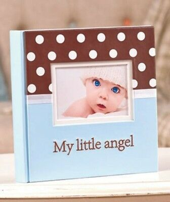 BABY BOY POLKA DOT ANGEL BLUE 160-PHOTO PICTURE EMBROIDERED ALBUM SHOWER GIFT