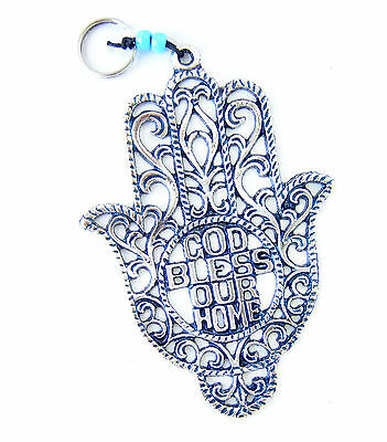 """Decorative wall Hanging Metal HAMSA W- GOD BLESS OUR HOME . S-6.41"""""""