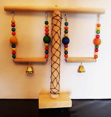 """Two Swings Parrot/Bird, Climbing Net Stand & Toys (3/4""""x 1"""")..11 1/2""""Wx11 1/2""""H"""