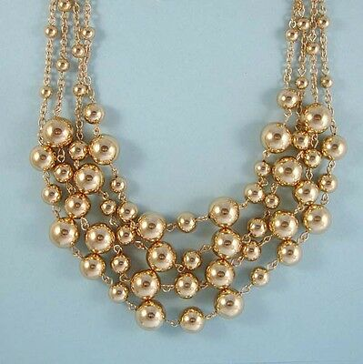 Stunning Strands of Gold Beads Statement Necklace Set, Great for Special Parties
