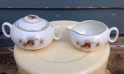 W.S. George Pinecone Pattern Serving covered sugar & creamer Vintage mid century