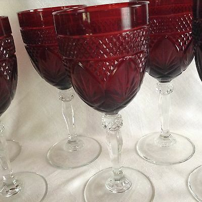 Set of 4 J. G. Durand Cristal d'Arques Ruby Red Wine/ Water Glasses