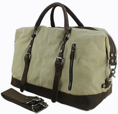 Vintage Men leather canvas Travel Bag tote Luggage Duffle Bag Carry on Overnight