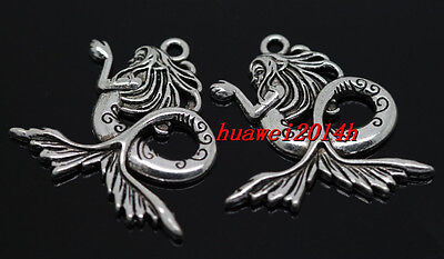 6pcs exquisite Tibet Silver God of sea Charm Pendant DIY Necklace Making 29mm