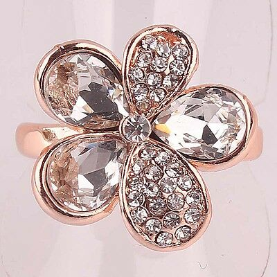 Women 14k Gold Filled white Sapphire Austrian crystals Size 8.5 Ring Gift B378