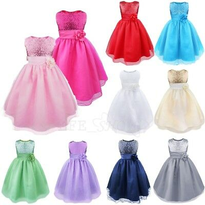 New Flower Girls Princess Pageant Wedding Bridesmaid Party Formal Tulle Dress