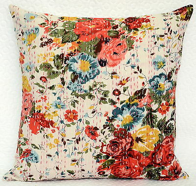 """16"""" INDIAN WHITE FLORAL CUSHION PILLOW COVERS Kantha Thread Work Ethnic Vintage"""